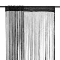 vidaXL Rideau en fils 2 pcs 100 x 250 cm Noir