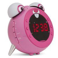 Nikkei Horloge de projection enfants avec radio FM NR280PRABBIT Rose