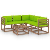 vidaXL Salon de jardin 6 pcs et coussins vert vif Bois de pin imprégné