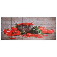 vidaXL Jeu de tableau sur toile Paprikas Multicolore 150x60 cm
