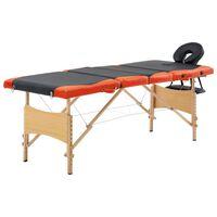 vidaXL Table de massage pliable 4 zones Bois Noir et orange