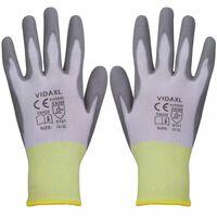 vidaXL Gants de travail PU 24 paires Blanc et gris Taille 10/XL