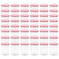 vidaXL 48 pcs Pots à confiture Couvercle blanc et rouge Verre 400 ml