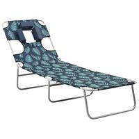 vidaXL Chaise longue avec coussin de tête Acier Motif de feuilles