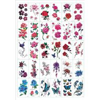Frottement - tatouages temporaires 30 feuilles de fleurs