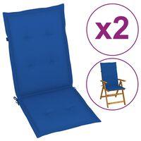 vidaXL Coussins de chaise de jardin 4 pcs Bleu royal 120x50x7 cm