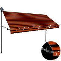 vidaXL Auvent manuel rétractable avec LED 300 cm Orange et marron