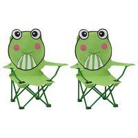 vidaXL Chaises de jardin pour enfants 2 pcs Vert Tissu