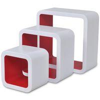 vidaXL Étagères murales Forme de cube 6 pcs Blanc et rouge
