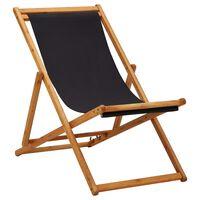 vidaXL Chaise pliable de plage Bois d'eucalyptus et tissu Noir