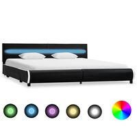 vidaXL Cadre de lit avec LED Noir Similicuir 180 x 200 cm