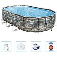 Bestway Ensemble de piscine ovale Power Steel Comfort 610x366x122 cm