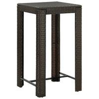 vidaXL Table de bar de jardin Marron 60,5x60,5x110,5 cm Résine tressée