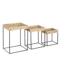 Lot de 3 tables appoint couleur bois clair / noir HAWI