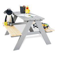 Pinolino Table et bancs de pique-nique d'enfants Nicki für 4 Bois Gris