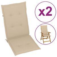 vidaXL Coussins de chaise de jardin 2 pcs Beige 120x50x4 cm