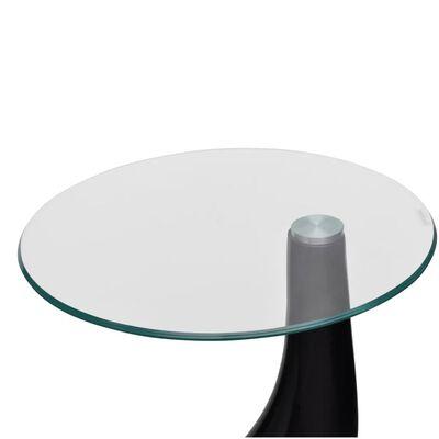 vidaXL Table basse et dessus de table Verre rond Noir brillant 2 pcs