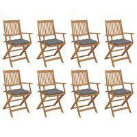 vidaXL Chaises pliables d'extérieur avec coussins 8 pcs Bois d'acacia