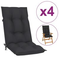vidaXL Coussins de chaise de jardin 4 pcs Anthracite 120x50x7 cm