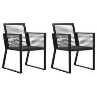 vidaXL Chaises de jardin 2 pcs Noir Rotin PVC