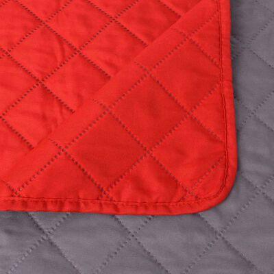 vidaXL Couvre-lit matelassé double-face Rouge et gris 220x240 cm