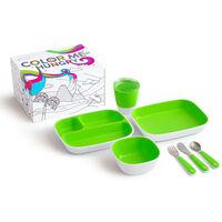 Munchkin Ensemble de vaisselle à manger 7 pcs Color Me Hungry Vert