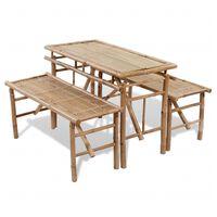 vidaXL Table avec 2 bancs 100 cm Bambou