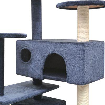 vidaXL Arbre à chat avec griffoirs en sisal 125 cm Bleu foncé