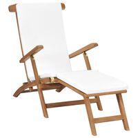 vidaXL Chaise longue avec coussin Blanc crème Bois de teck solide