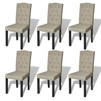 vidaXL Chaises de salle à manger 6 pcs Beige Tissu