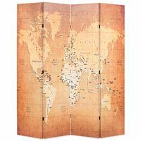 vidaXL Cloison de séparation pliable 160 x 170 cm Carte du monde Jaune