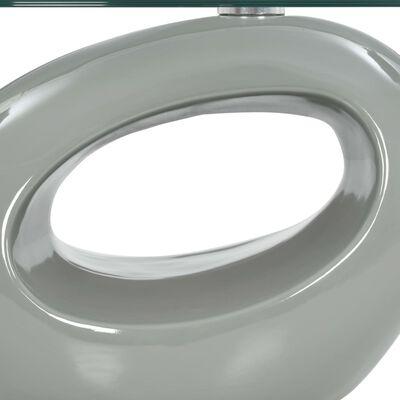 vidaXL Table basse avec dessus de table en verre ovale Gris brillant