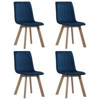 vidaXL Chaises de salle à manger 4 pcs Bleu Velours