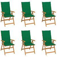 vidaXL Chaises de jardin 6 pcs avec coussins vert Bois de teck