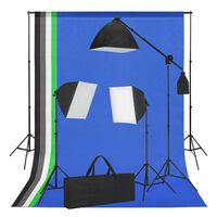vidaXL Kit de studio photo avec boîte à lumière et toiles de fond