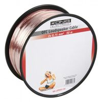 König OFC loudspeaker cable 2x 0.75mm² on reel 50 m transparent
