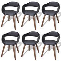 vidaXL Chaises de salle à manger 6 pcs Noir Bois courbé et similicuir