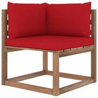 vidaXL Canapé d'angle palette de jardin avec coussins rouge