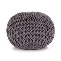 vidaXL Pouf tricoté à la main Coton 50 x 35 cm Gris