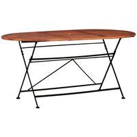 vidaXL Table de jardin 160 x 85 x 74 cm Bois d'acacia massif Ovale
