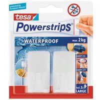 Crochet rectangulaire blanc + powerstrips waterproof - lot de 2