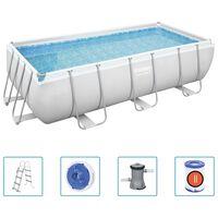 Bestway Ensemble de piscine rectangulaire Power Steel 404x201x100 cm