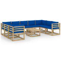 vidaXL Salon de jardin 10 pcs avec coussins Bois de pin imprégné