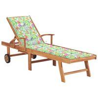 vidaXL Chaise longue avec coussin à motif de feuilles Teck solide