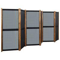 vidaXL Cloison de séparation 6 panneaux Noir 420x170 cm