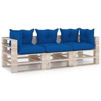 vidaXL Canapé palette à 3 places de jardin avec coussins Bois de pin