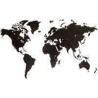 MiMi Innovations Décoration carte du monde murale Bois Noir 180x108 cm