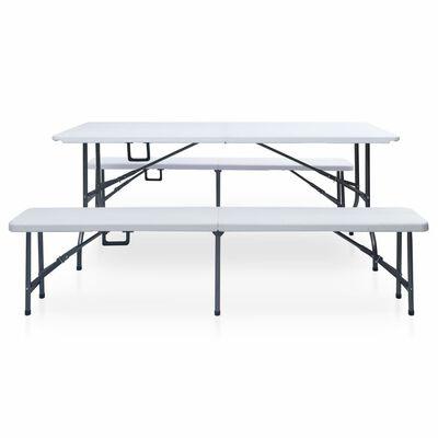 vidaXL Table pliable de jardin avec 2 bancs 180 cm Acier et PEHD Blanc