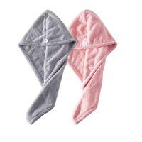 Lot de 2 essuie-cheveux en microfibre - gris / rose