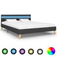 vidaXL Cadre de lit avec LED Gris foncé Tissu 140 x 200 cm